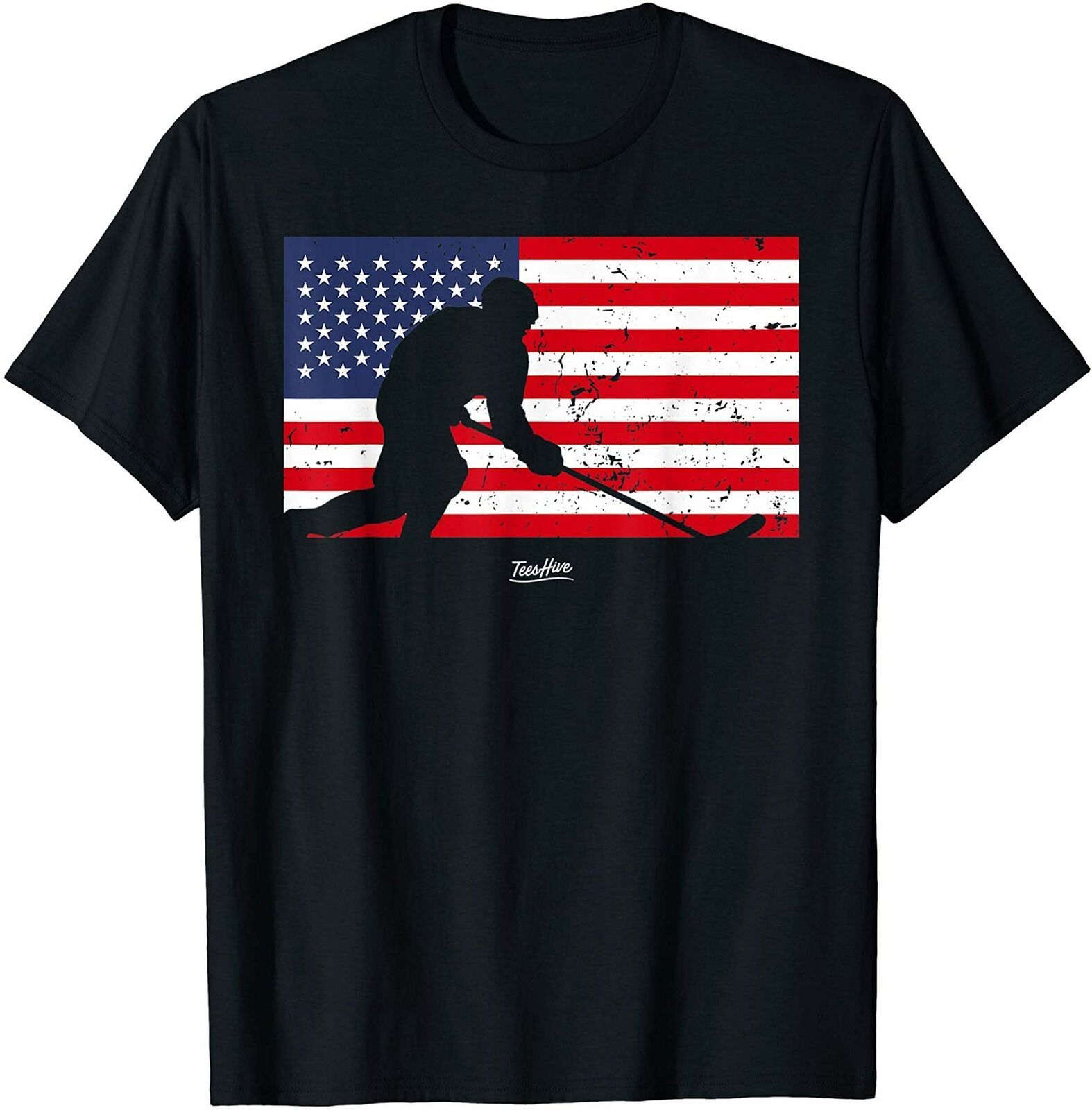 American Flag Hockey Player Stick Hockey Fight Hockey Lover T Shirt Birthday image