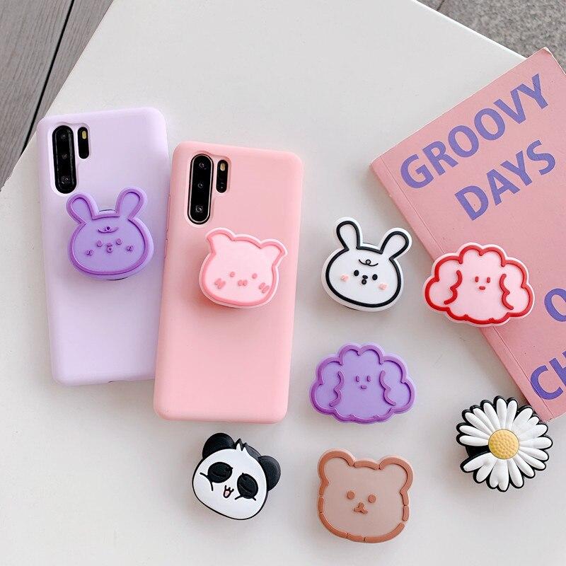 Luxury Cute Cartoon Animal Airbag Mobile Phone Extension Frame Finger Bracket Rabbit Panda Universal Fold Mobile Phone Bracket