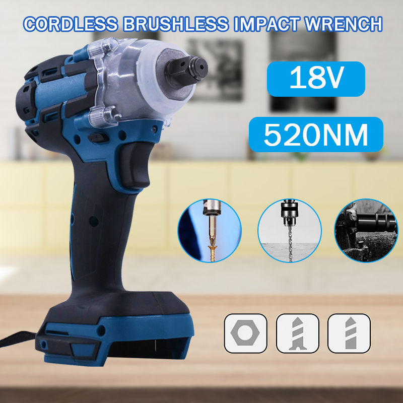 Brushless Electric Wrench Impact Socket Wrench 18V 520Nm For Makita Battery Hand Drill Installation 1/2 Socket Wrench Power Tool