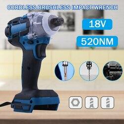 Sem escova chave de impacto elétrica chave soquete 18 v 520nm para a instalação da broca da mão bateria makita 1/2 chave soquete ferramenta elétrica