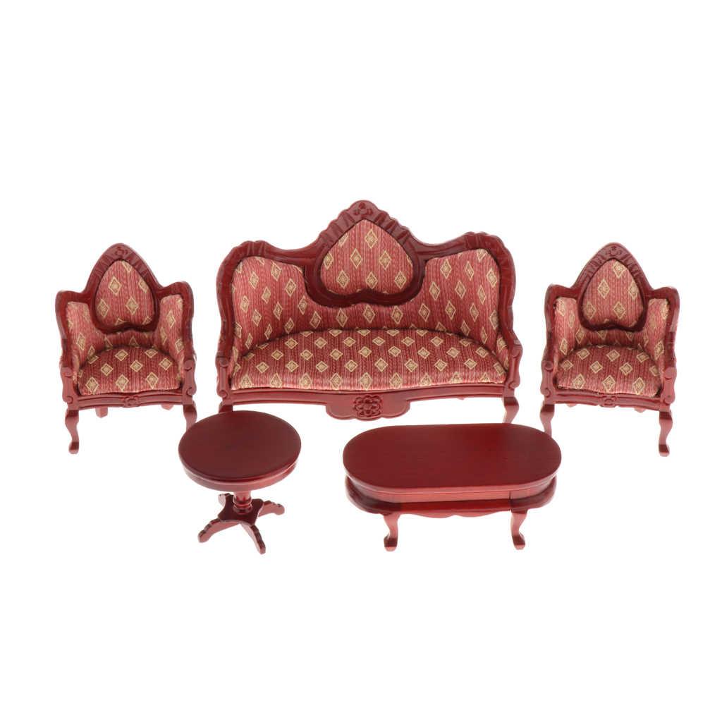레트로 1/12 인형 집 가구 미니어처 키트 5 PCS-나무 소파 안락 의자 & 엔드 테이블 & 사이드 테이블, 룸 박스 장식 DIY 용품