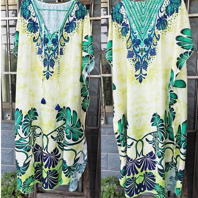 Cotton Long Beach Dress Robe de Plage Swimwear Women Cover ups Tunic Pareo Beach Cover up Kaftan Beach Saida de Praia Beachwear 4