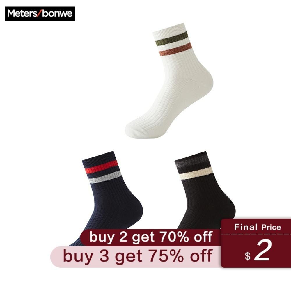 Metersbonwe 3 Pairs/lot Spring Summer Men Cotton Socks For Men's Sports Casual Striped Short Socks Male