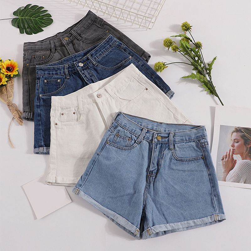 Casual Solid Sweet Women Denim Shorts Summer Straight Korean Ladies Shorts Mujer Pockets Empire Sexy Mini Jeans Shorts