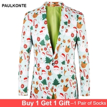 PAULKONTE 2019 Fashion Christmas Cartoon Print Mans Jacket For Men Suit Top High Quality Party Wedding Mostly Male Blazer