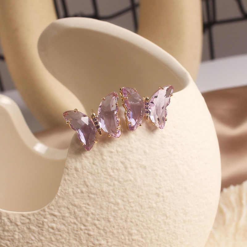 Shiny Side Neue Zubehör Elegante Glas Schmetterling Stud Ohrringe für Frauen Einfache Stil Candy Farbe Insekten Ohrringe