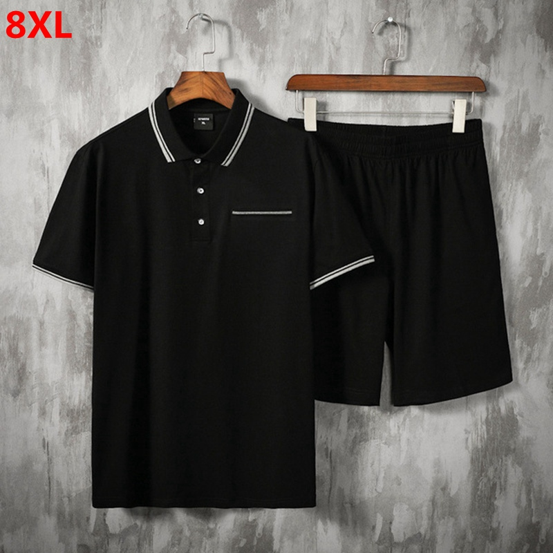 Big Size Sweatsuit Men Short-sleeved Polo-shirt Men Track Suit Summer Plus Size Suit Thin Casual Loose Shorts Mens Short Sets