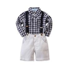 2pcs/set Summer Hot Infant Boy Gentleman Clothes Set Short Sleeve Bow Tie Plaid Shirt+Overalls Shorts 2-6Y D20