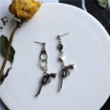 Rock Disco Pistol Earrings Punk Asymmetric Handcuff Heart Shape Eardrop Long Earring