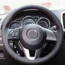 цена на LUNDA Black Leather DIY Car Steering Wheel Cover for Mazda CX-5 Mazda 3 2013-2016 Scion iA 2016 Mazda 6 2014-2016