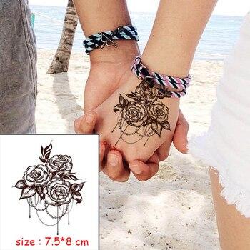 Temporary Waterproof tattoo sticker mandala flower necklace pattern hand back fake tatoo water transfer flash body art tatto 4