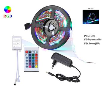 5M LED Strips Lights Bluetooth Luces Led RGB 5050 SMD 2835 Flexible Waterproof Tape Diode 5M 10M 15M DC 12V Remote Control+Adapt image