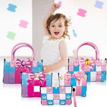 New 16 Style Soft Girl Bag Building Blocks Kids DIY Model Construction Educational Handmade Toys Children Christmas Gift