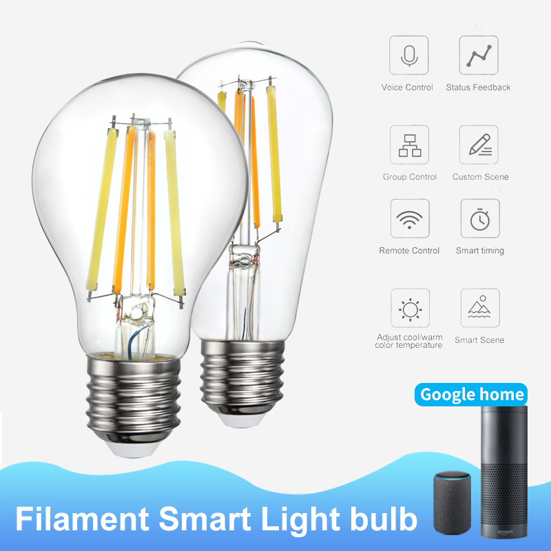 New WiFi Smart Bulb A60/ST64 Filament 2700K-6500K Cold Warm Dual-color Bulb Home Automation Compatible With Alexa Google Home