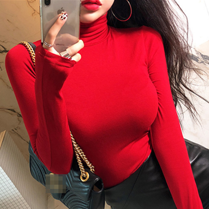 new Spring Lady <font><b>Black</b></font> Solid red turtleneck <font><b>sexy</b></font> Slim Fit Tee Women Highstreet Casual Long Sleeve <font><b>Tshirt</b></font> Tops female girl t shirt image