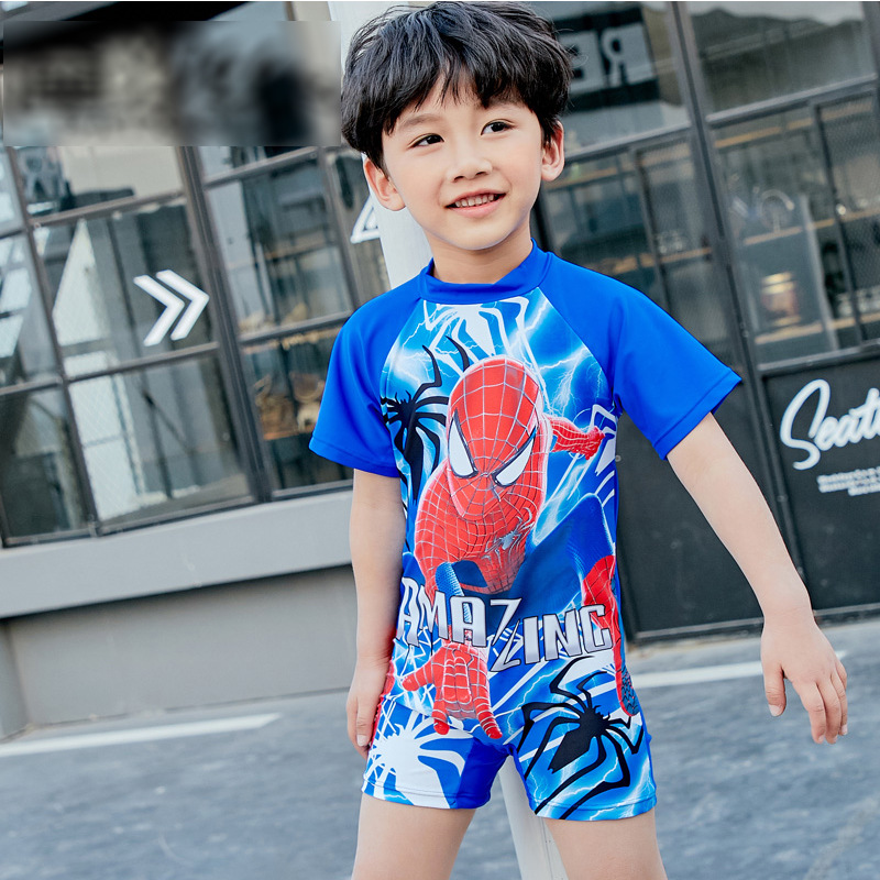 Spider-Man KID'S Swimwear BOY'S One-piece Handsome Summer Tour Bathing Suit Cartoon Printed Short Sleeve Quick-Dry Swimming Suit