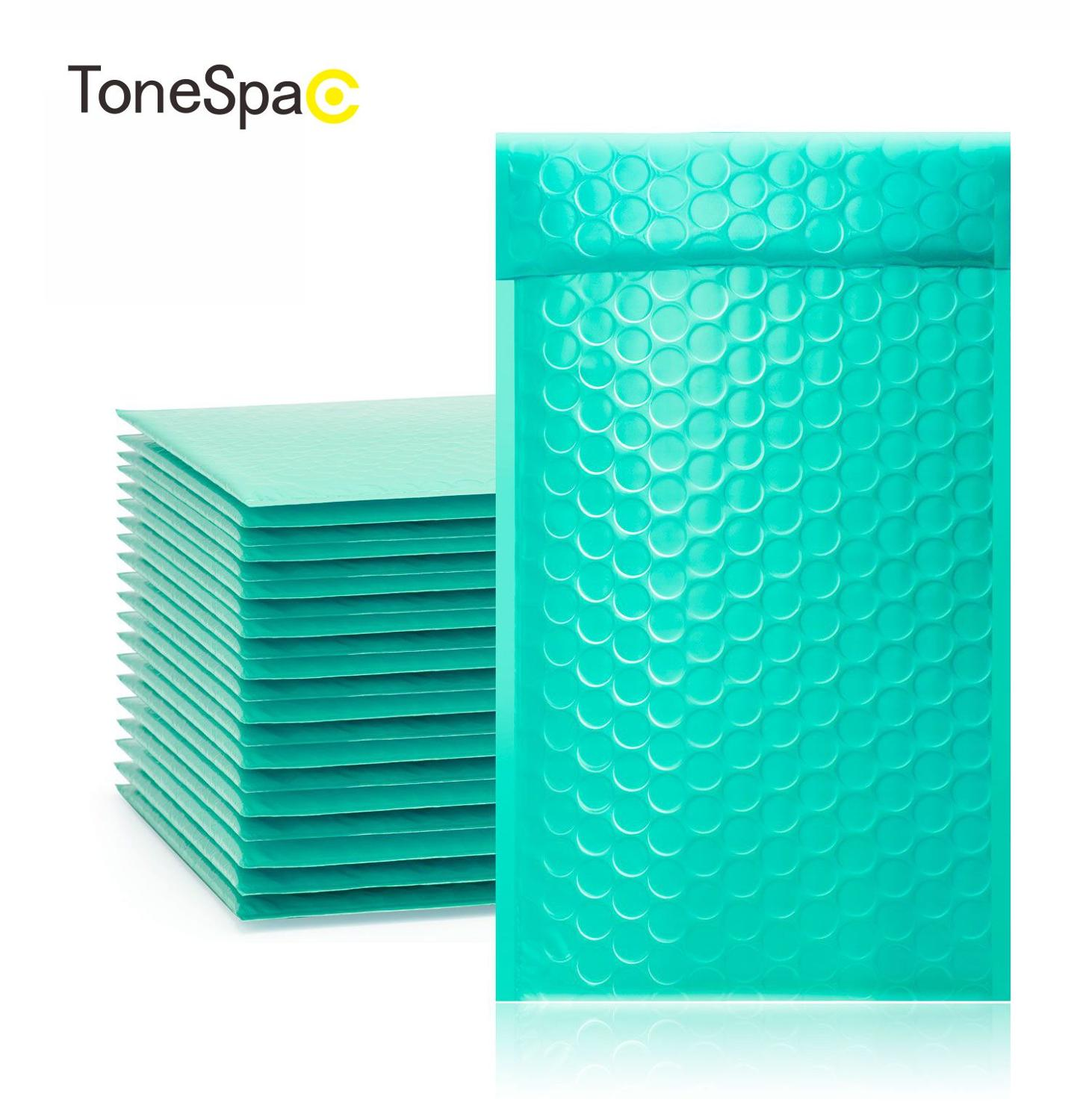 TONESPAC 130*210mm 50pcs Poly Bubble Mailer Padded Shipping Envelopes Bag Self Seal Small Waterproof Packaging.Teal