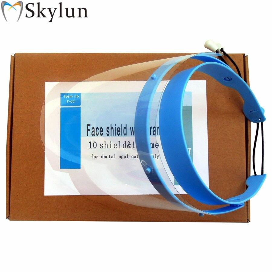 40SETS Dental Face Shield Mask Protection Mask Clear Anti-Fog Protective Factory Dental Lab 1 Frame 10 Visor Films SL707