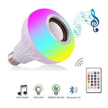 DZLST altavoz con Bluetooth, bombilla LED inteligente E27, luz RGB, 12W, lámpara Led inalámbrica regulable para reproducción de música con Control remoto de 24 teclas
