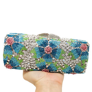 Image 5 - Boutique De FGG Hollow Out Women Crystal Flower Clutch Evening Handbags and Purses Metal Hardcase Floral Wedding Minaudiere Bags