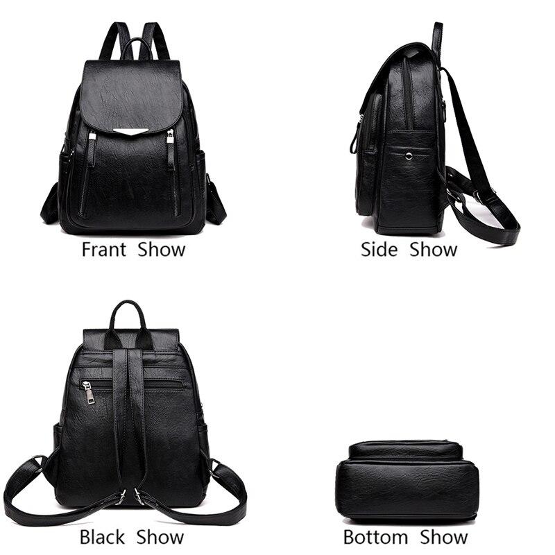 Femmes sac à dos PU femme sacs à dos Vintage en cuir sacs d'école grande capacité sac d'école pour filles Double fermeture éclair sacs à bandoulière - 5