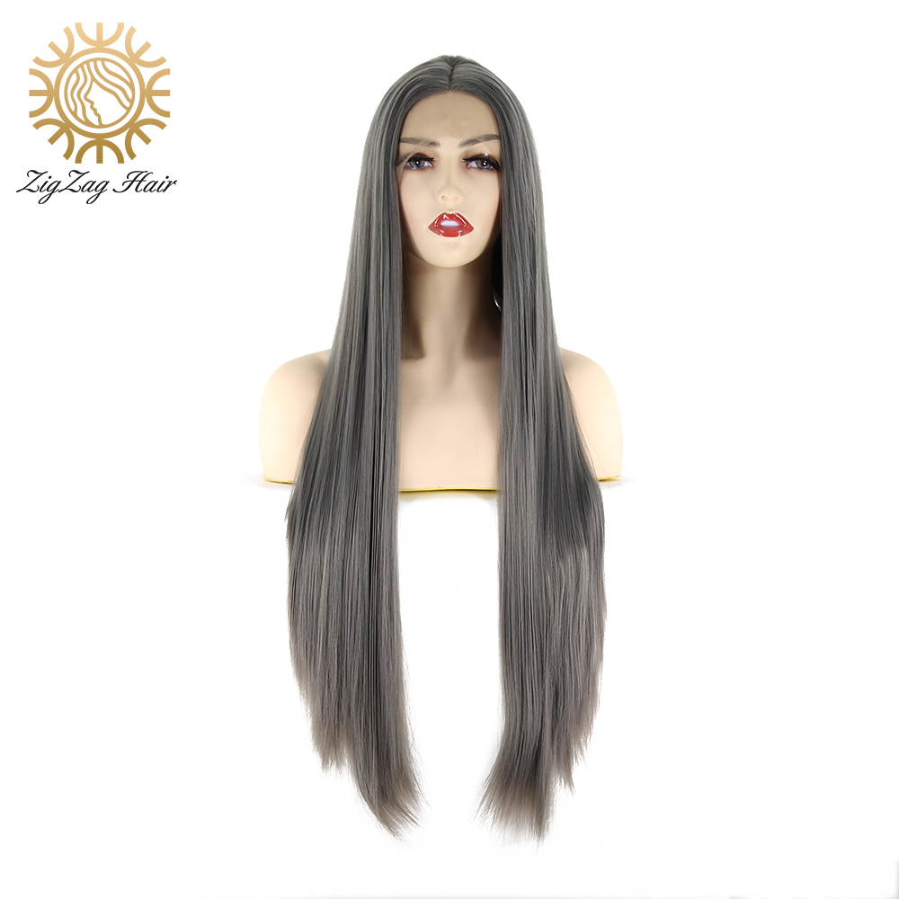 ZigZag Grey Synthetic Lace Front Wigs For Women Glueless Long Straight Fiber Hair High Temperature Resistance For Everyday Wear