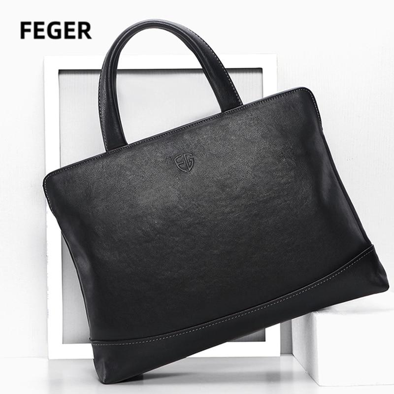 FEGER Men bag Genuine Leather Briefcase Silm laptop briefcases brand luxury handbag business computer bags 2020 new fashion