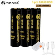 PALO 3pcs micro USB 18650 2600mAh 3.7V Li-ion battery rechargebale for flashlight batteries