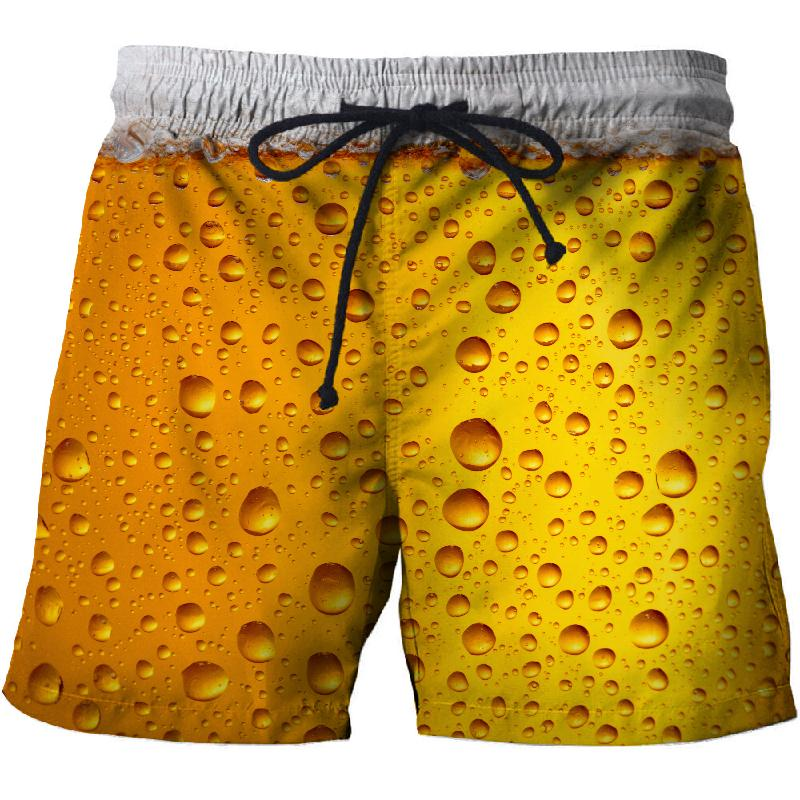 2019 Summer Beer 3D Casual Beach Shorts, Mascuino Gym Street Men's Resort Shorts, Fashionable Sports Men's Shorts Dry New