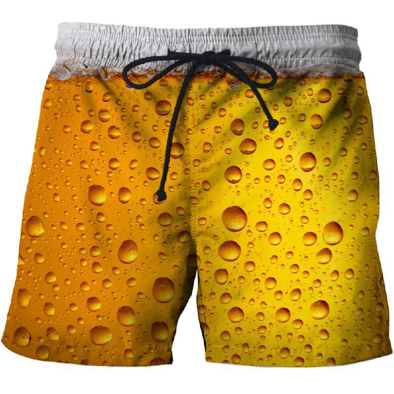 2019 Summer Beer 3D Casual Beach Shorts, Mascuino Gym Street Men's Resort Shorts, Fashionable Sports Men's Shorts Dry New