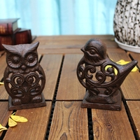 Vintage Cast Iron Tea Light Holder Metal Candle Holder Owl Bird Cock Tortoise Frog Home Garden Porch Courtyard Decor Brown Table