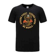 Marca 100% algodão cobra kai t camisa cobra karate dojo anime tshirts de fitness casual tamanho da ue 100% algodão topos t moda pura