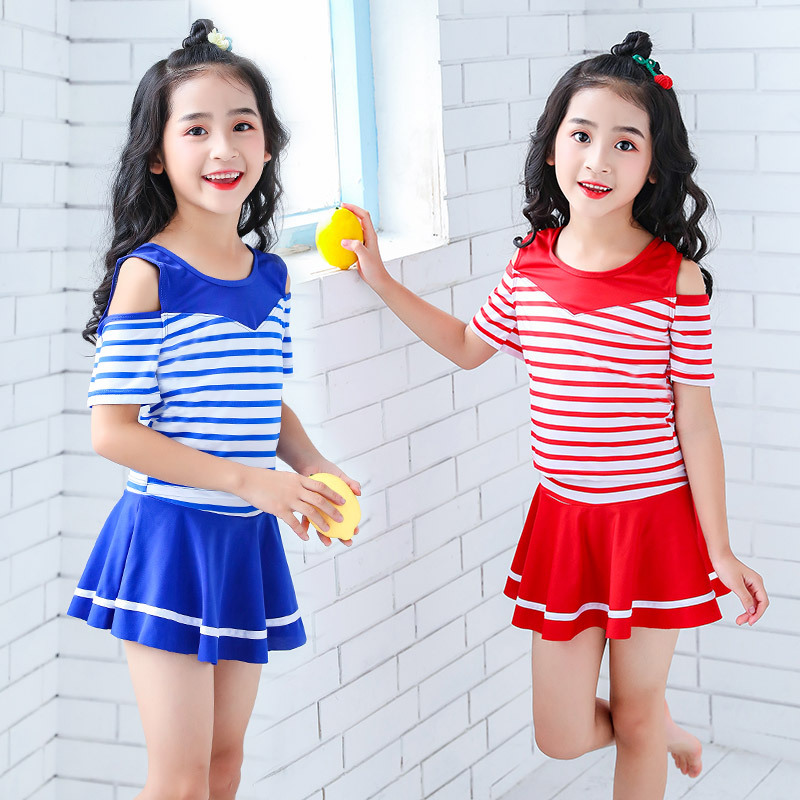 KID'S Swimwear New Style Striped Skirt-Girls' Two-piece Swimsuit Beach Small Middle And Large GIRL'S Tour Bathing Suit Manufactu