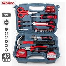 Juego de Herramientas de garaje para oficina en casa de 49 piezas, incluyendo alicates de llave ajustables, puntas de destornillador en caja de herramientas de plástico