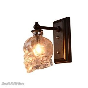 Image 4 - Skull Bones Wall Lamp Retro Loft Sconces Clear Glass Bottle Wall Art Light Fixtures for Dinning Room Bar Industrial Home Decor
