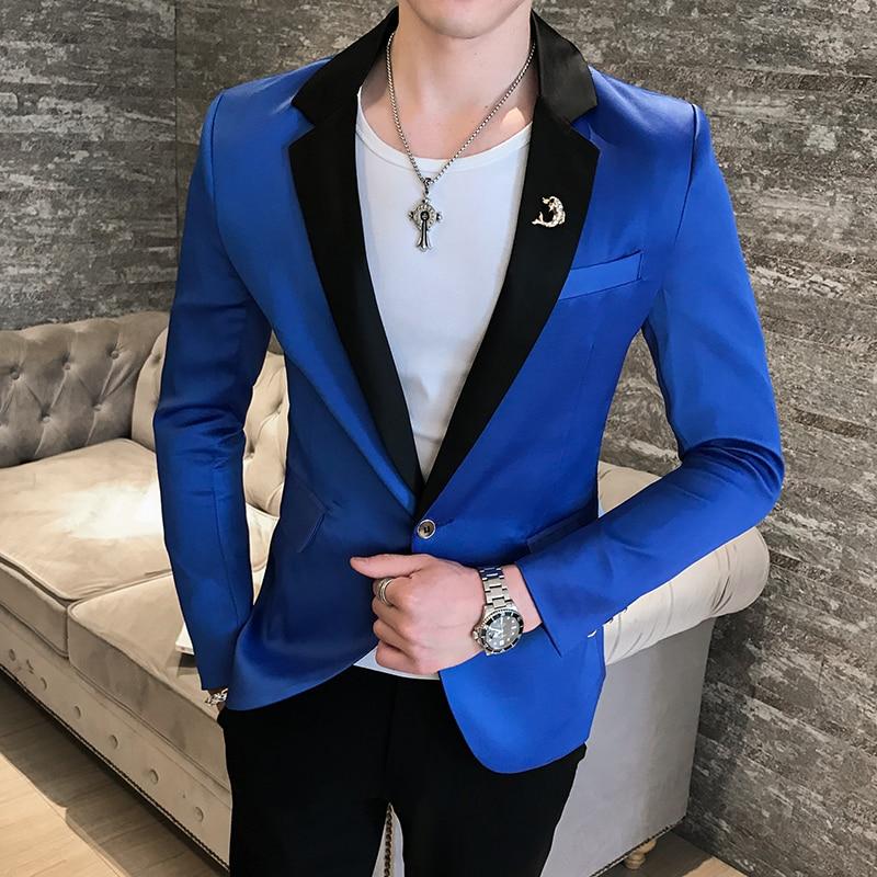2019 Fashion Blazers Mens Royal Blue Terno Slim Fit Masculino Club Performance Costume Pink Blazers Mens Americana Hombre Party