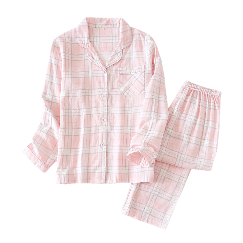Spring New Fashion Plaid Pajama Sets Women Sleepwear 100% Gauze Cotton Japanese Sweet Long Sleeve Women Pyjamas 2020