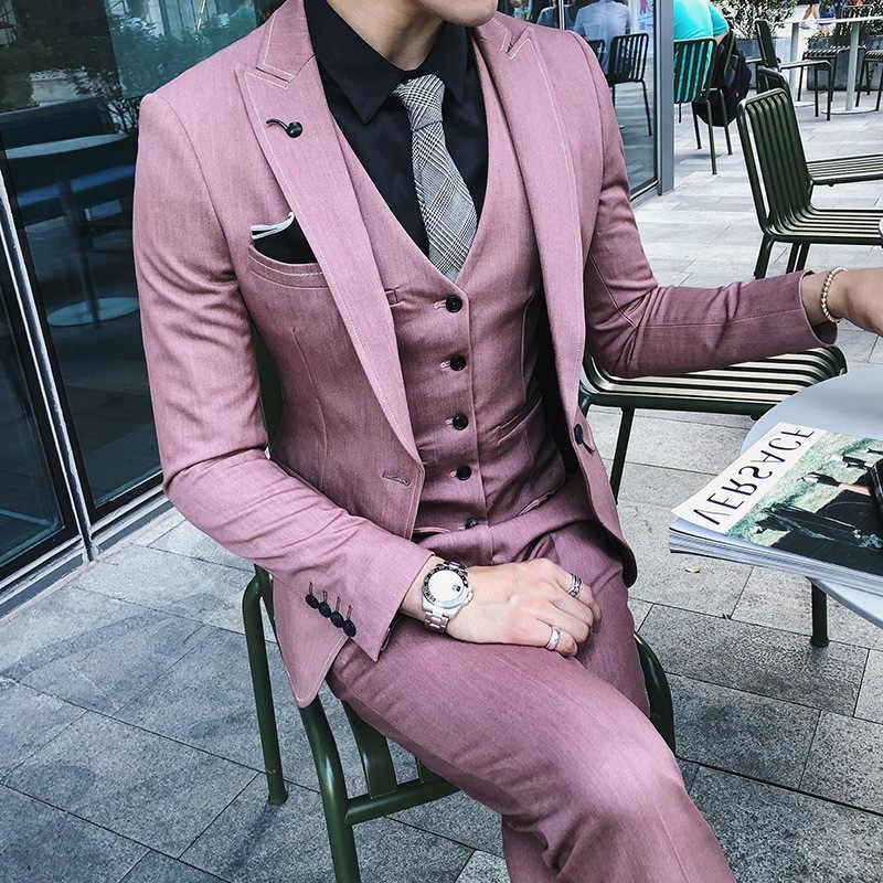 بدلة زفاف فاخرة رجالي بلازير تناسب ضئيلة الدعاوى للرجال زي الأعمال الرسمي حفلة الوردي الكلاسيكية الأسود (سترة بانت سترة)