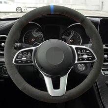 El dikişli siyah hakiki deri süet araba direksiyon kapakları Mercedes Benz için bir sınıf 19 20 GLC GLB 2020 CLS 18 20