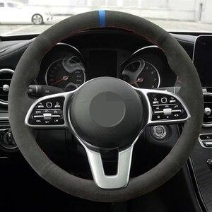Image 1 - El dikişli siyah hakiki deri süet araba direksiyon kapakları Mercedes Benz için bir sınıf 19 20 GLC GLB 2020 CLS 18 20