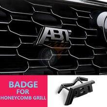 1X 3D ABT Etiqueta Para A3 8V A4 B8 B9 A5 A6 A7 Q2 Q3 Q5 Q7 Q8 Malha Favo de mel Grade Capô Badged ABT Sportsline Adesivo Lateral Guarnição