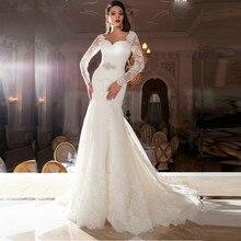 Vestido De Noiva Fashion Long Sleeve Robe De Mariage Lace Bridal Gown Court Train Elegant Mermaid