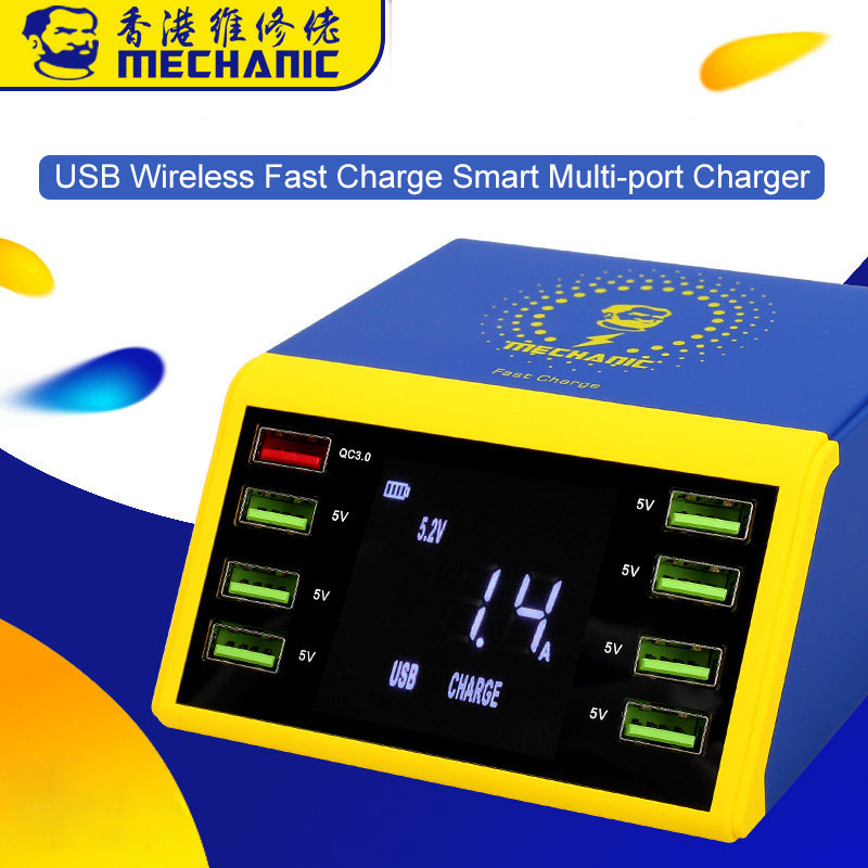 AC 100-240v LCD Digital Display 8 Port USB Smart Charger Support QC 3 0 Fast Charge With 10W Wireless Charge for iPhone Samsung