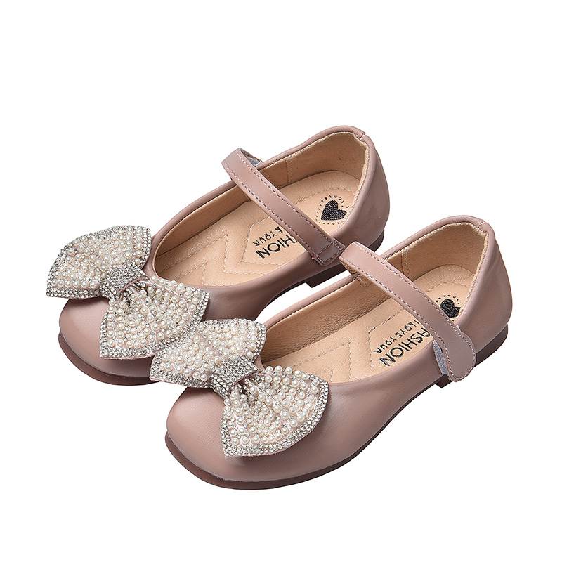 Child Kids Baby Girl Bowknot Party Wear Princess Shoes Shiny Leather Moccasins