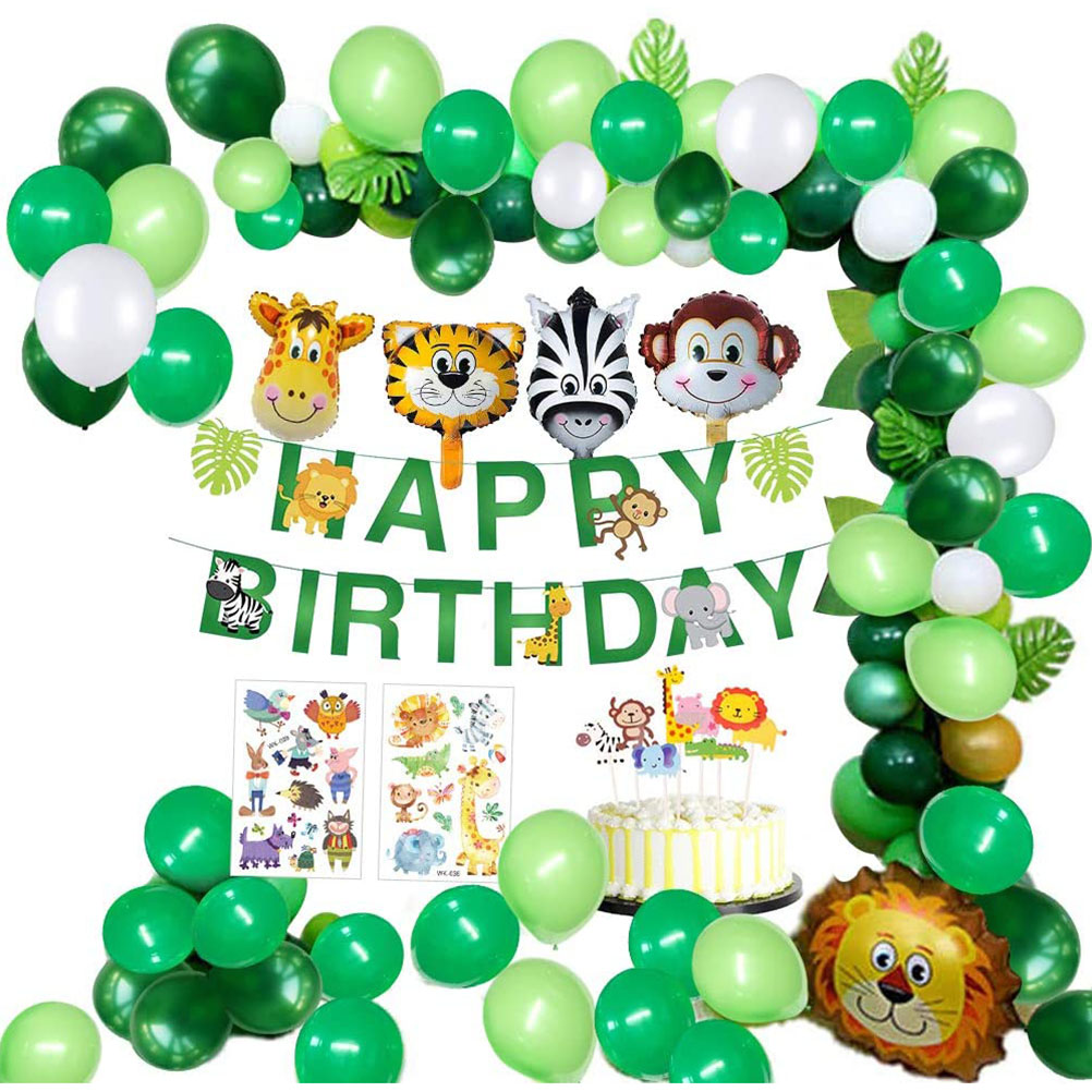 Jungle Birthday Party Decoration Happy Birthday Banner With Palm Leaves Pentagonal Balloons Safari Forest Animal Decoration