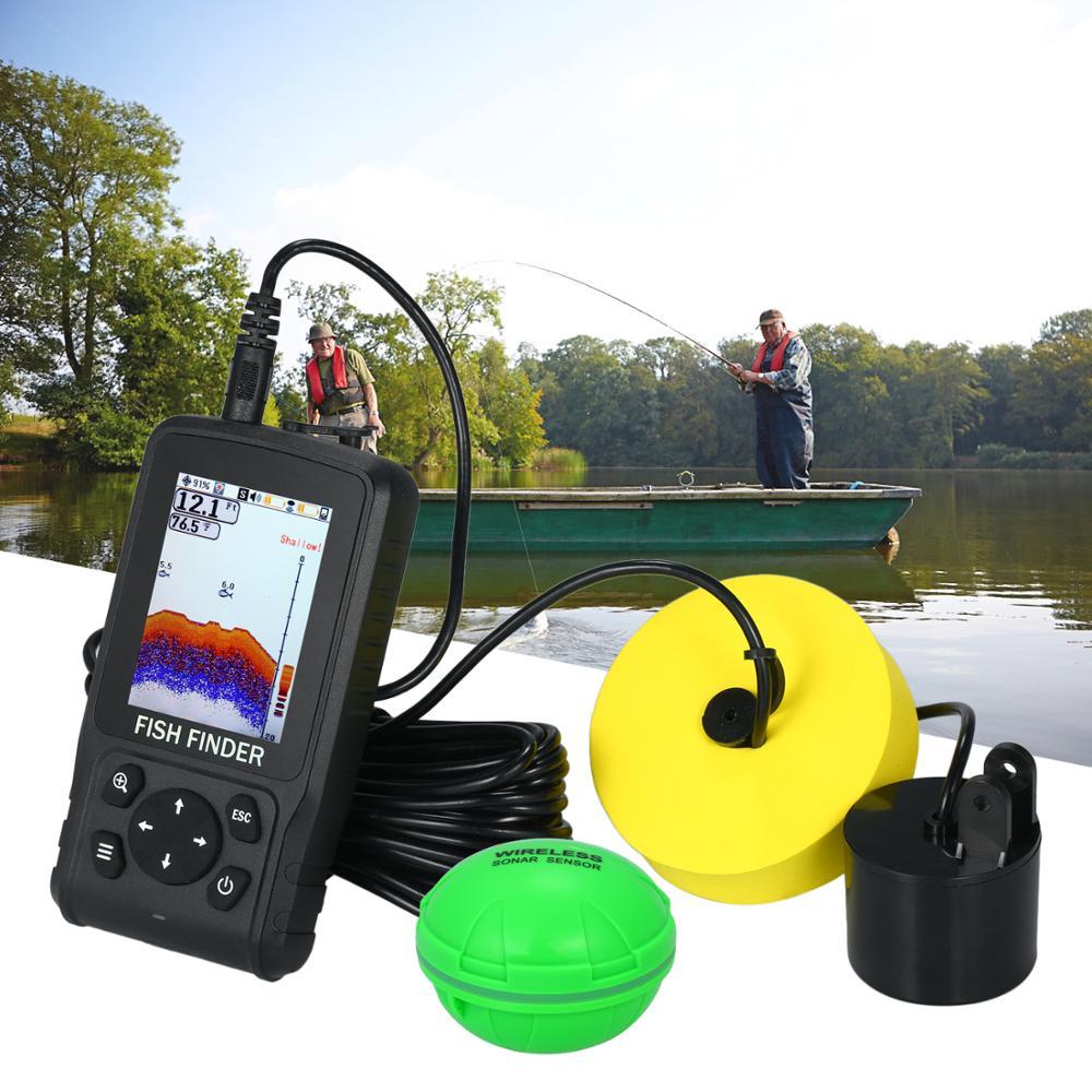 Angeln Finder Boot Eis Angeln Ausrüstung Tragbare 2,8 Zoll LCD Fish Finder Wireless Sonar 118FT Tiefe Palette