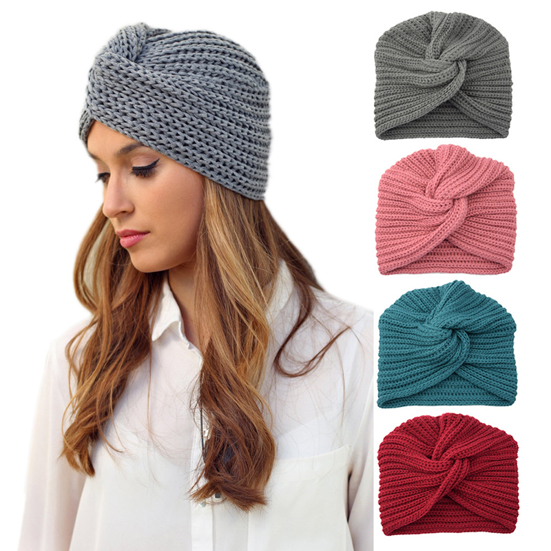 Boho Style Women Knot Bandanas Fashion Knitting Warm Muslim Scarf  2019 Autumn Winter Turban Cap Solid Color Cross Headscarf
