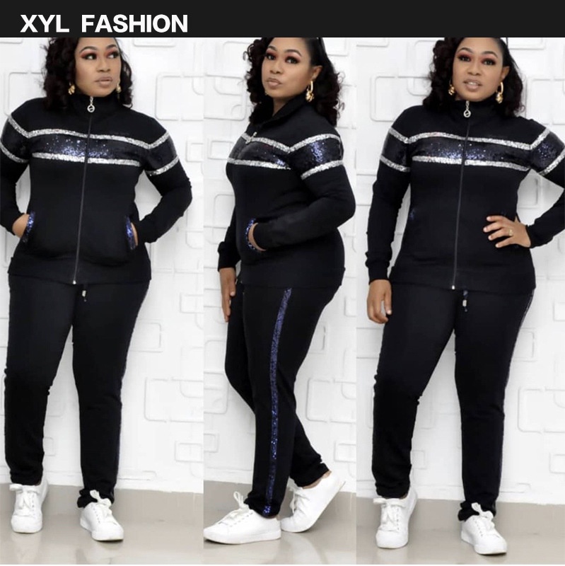 Echoine Sequin Sport Wear 2 Piece Set Women Tracksuit Jacket And Pants Sweatshirt Matching Set