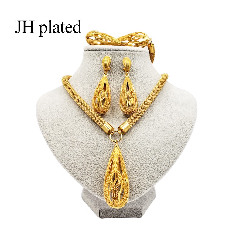 JHplated 2019 New <font><b>Nigeria</b></font> Dubai Fashion <font><b>jewelry</b></font> <font><b>sets</b></font> African color wedding gifts party <font><b>for</b></font> <font><b>women</b></font> Ornament Necklace earrings ring image