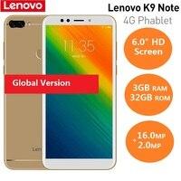 Смартфон lenovo K9 Note 4G 6,0 ''18:9 Android 8,1, Восьмиядерный процессор Qualcomm Snapdragon 450, 1,8 ГГц, 3 ГБ ОЗУ, 32 Гб ПЗУ, мобильный телефон 16,0 Мп AI